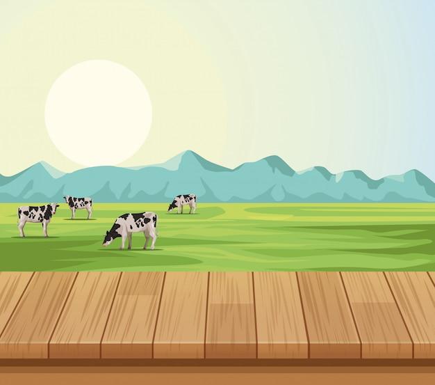 Farm landschaft landschaft Premium Vektoren