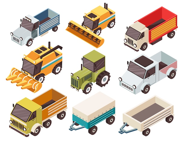Farm vehicles isometric set Kostenlosen Vektoren