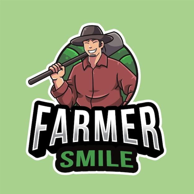 Farmer smile logo vorlage Premium Vektoren