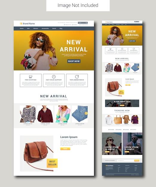 Fashion e-commerce-landing-page-vorlage Premium Vektoren