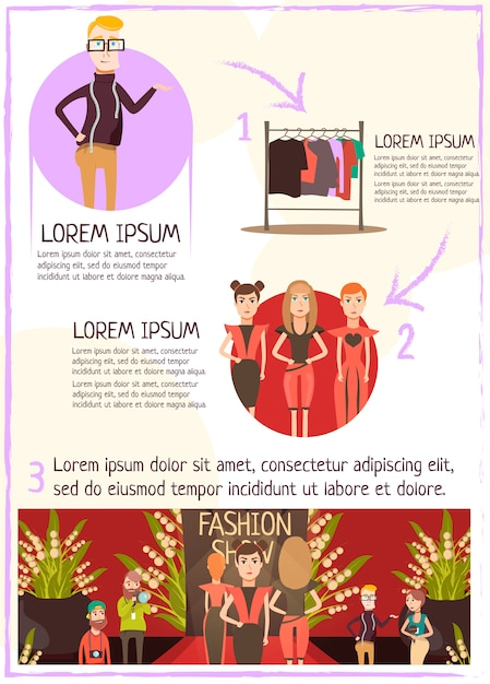 Fashion event review infografiken Kostenlosen Vektoren