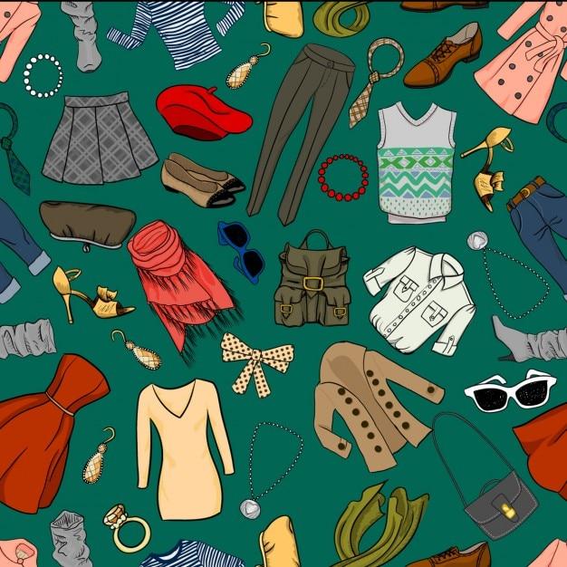Fashion karikatur nahtlose hintergrund Kostenlosen Vektoren