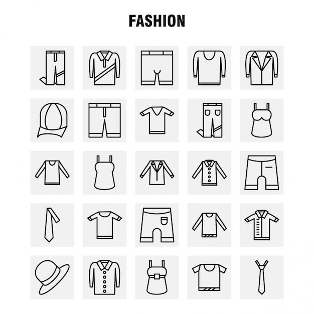 Fashion line icons set für infografiken, mobile ux / ui kit Premium Vektoren