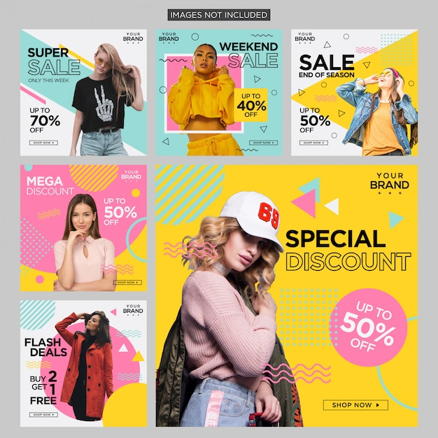 Fashion memphis social media post design Premium Vektoren