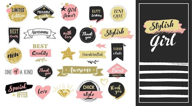 Fashion patch abzeichen und aufkleber, etiketten und verkaufsetiketten. goldherzen, sprechblasen, sterne und andere elemente. Premium Vektoren