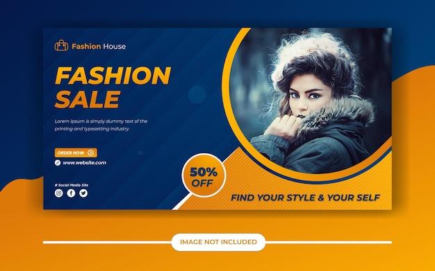 Fashion sale bietet social media post oder facebook ads banner oder web banner Premium Vektoren