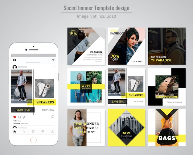 Fashion Sale Social Media Post-Vorlage Premium Vektoren