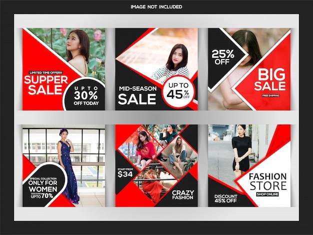 Fashion sales instagram post oder quadratische banner vorlage Premium Vektoren