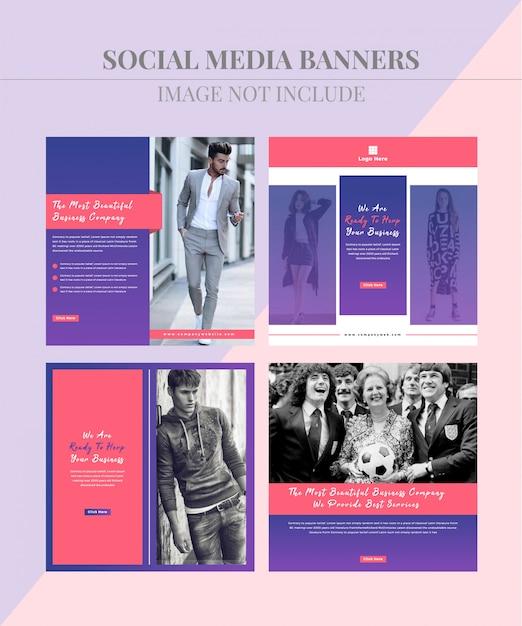 Fashion social media beitragsbanner Premium Vektoren