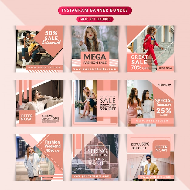 Fashion web banner für social media Premium Vektoren