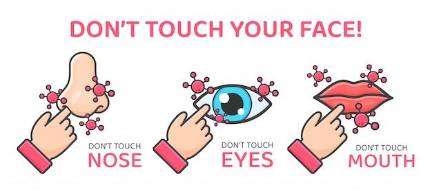 Fass nicht berühren. handsteine, die auf gesicht, augen, nase, mund und kanäle zeigen, um das koronavirus in den körper zu tragen. Premium Vektoren
