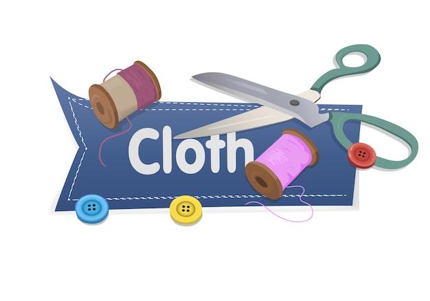 Fassen sie stoff mit scheren und thread und knöpfe auf weiß ab Premium Vektoren