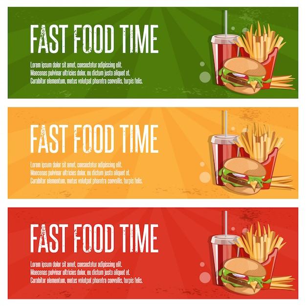 Fast-food-banner mit burger, bratkartoffeln und cola Premium Vektoren