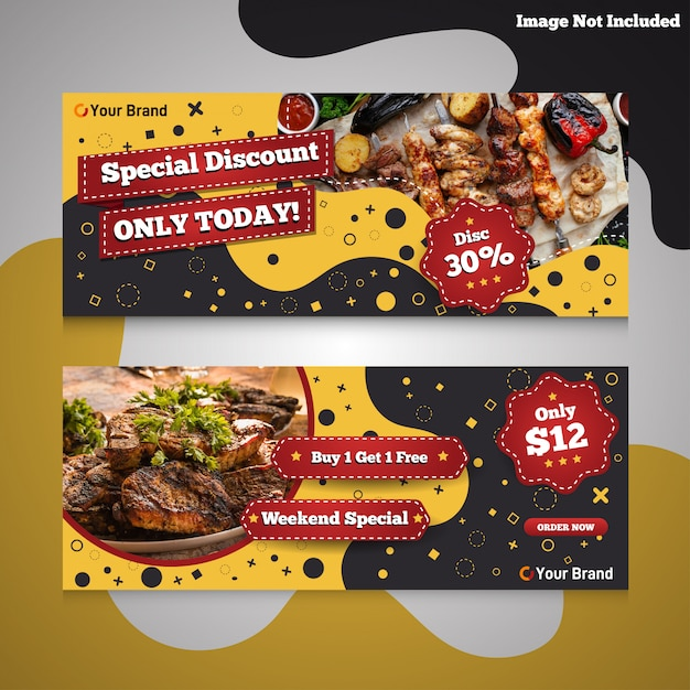 Fast-food-burger und grill promotion rabatt banner Premium Vektoren