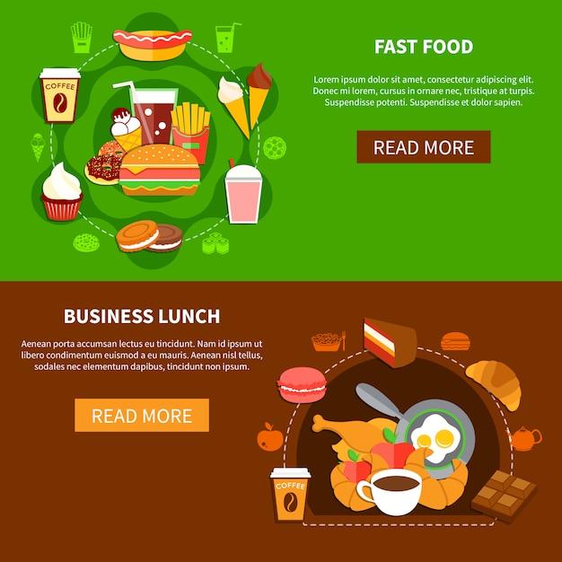Fast food business lunch flat banner Premium Vektoren