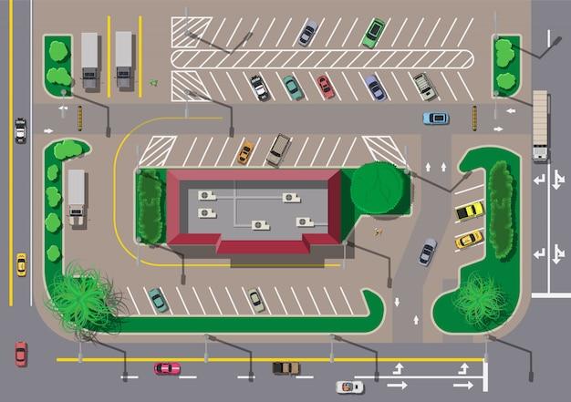 Fast-food-café-restaurant und parkplatz für autos. Premium Vektoren