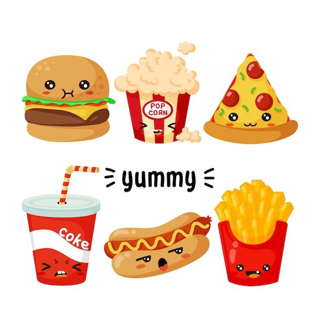 Fast-food-charaktere Premium Vektoren