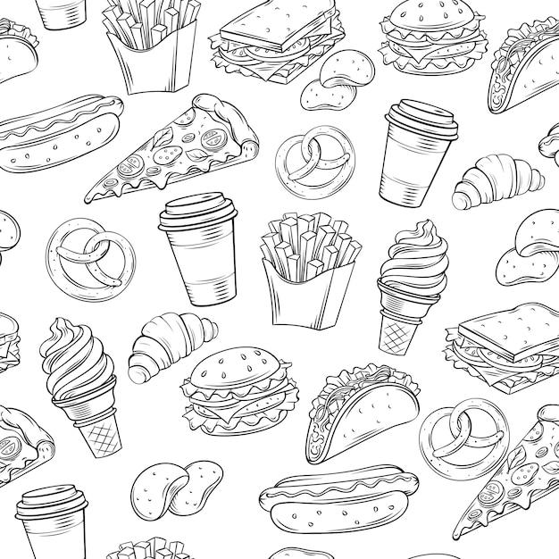 Fast food dekoratives nahtloses muster. Premium Vektoren