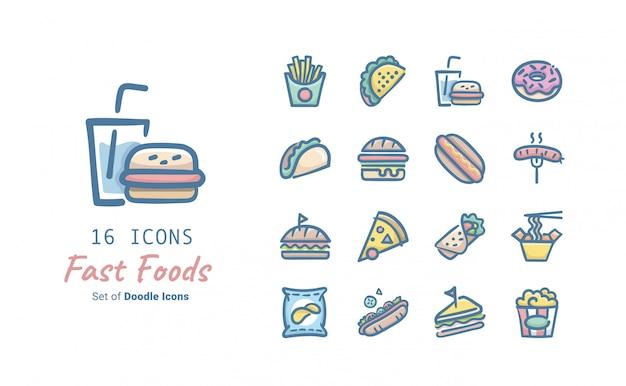 Fast-food-doodle-icon-sammlung Premium Vektoren