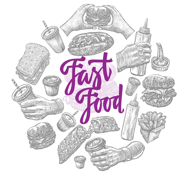 Fast food elements runde zusammensetzung Kostenlosen Vektoren