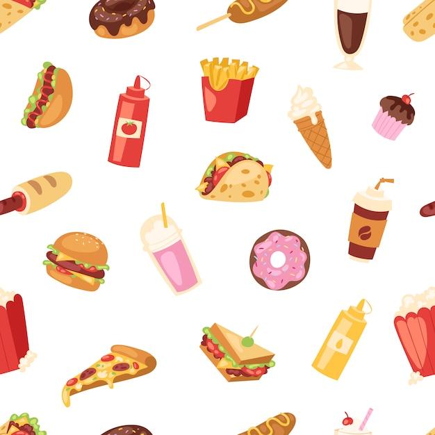 Fast-food-ernährung amerikanischer hamburger oder cheeseburger ungesundes esskonzept junk fast-food-snacks burger oder sandwich und soda trinken illustration nahtlosen muster hintergrund Premium Vektoren