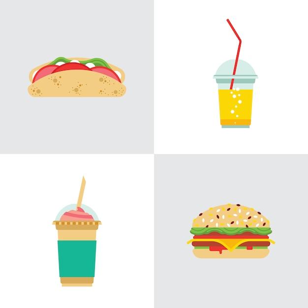 Fast food essen Premium Vektoren