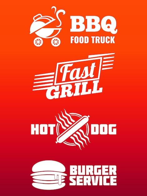 Fast-food-etiketten-sammlung Premium Vektoren