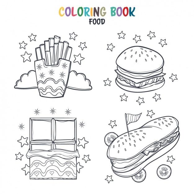 Fast food färbung design Kostenlosen Vektoren