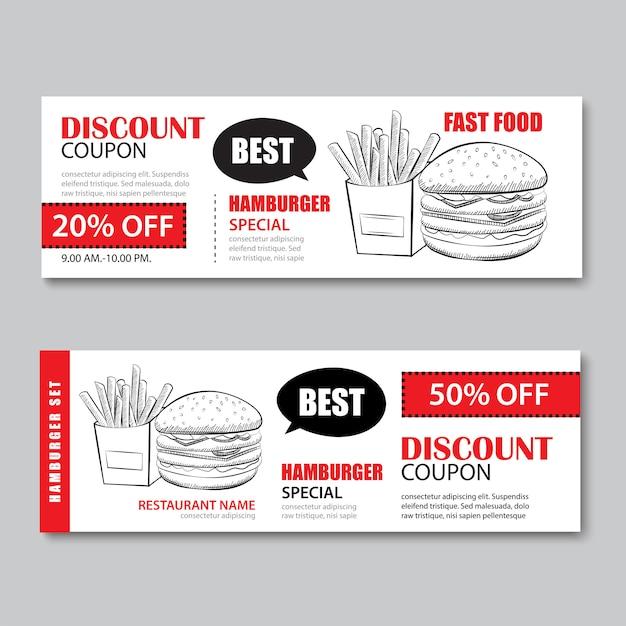 Fast food geschenkgutschein und gutschein verkauf rabatt vorlage. Premium Vektoren