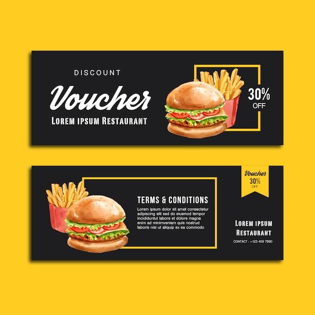 Fast-food-gutschein gutschein rabatt bestellen menü vorspeise essen Kostenlosen Vektoren