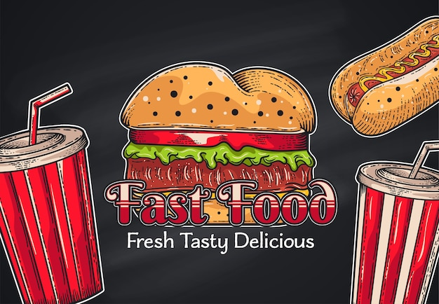 Fast-food-hintergrund der weinlese. hand gezeichnete illustration Premium Vektoren