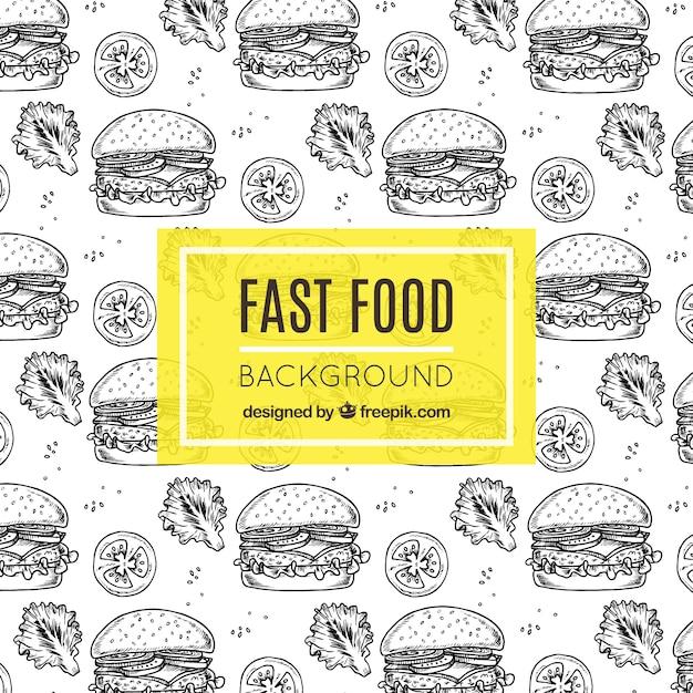 Fast food hintergrund mit handgezeichneten burger Premium Vektoren