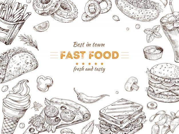 Fast-food-hintergrund. skizzenzeichnung hamburger, cola snacks. gekritzeleis, pizza und sandwich. schnellrestaurant-vektorplakat Premium Vektoren