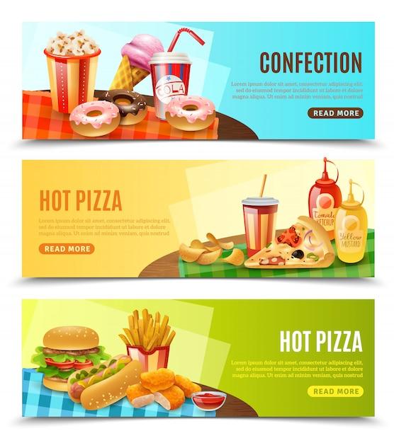 Fast food horizontale banner gesetzt Kostenlosen Vektoren