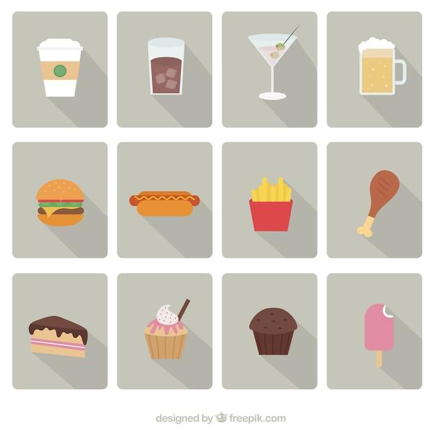 Fast food icons vektor-set Kostenlosen Vektoren