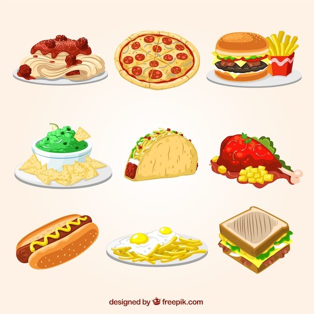 Fast food illustrationen Kostenlosen Vektoren
