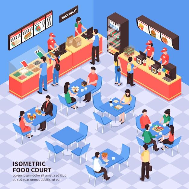 Fast-food-isometrische darstellung Kostenlosen Vektoren