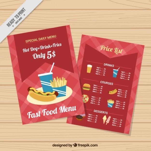 Fast Food-Menü-Schablone | Download der kostenlosen Vektor