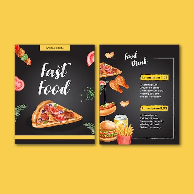 Fast-food-menü. feldrandmenü-listenaperitiflebensmittel Kostenlosen Vektoren