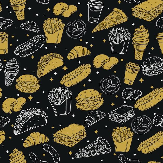 Fast food nahtloses muster mit Premium Vektoren