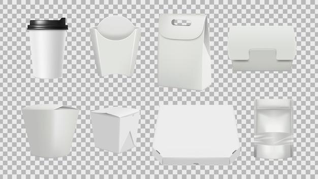 Fast-food-paket. realistische 3d-lebensmittel isolierte papierverpackungsmodelle. illustrationsbehälterpackung für lebensmittel, realistischer karton Premium Vektoren