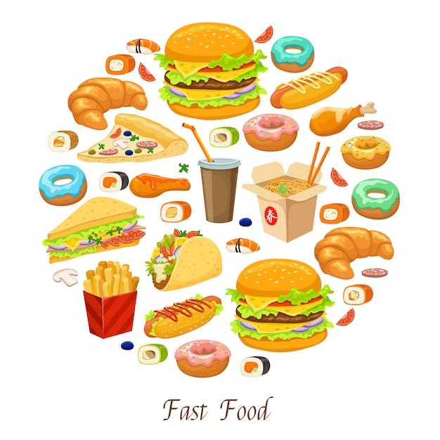 Fast food runde zusammensetzung Kostenlosen Vektoren