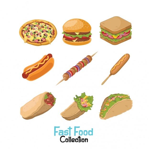 Fast food sammlung Kostenlosen Vektoren