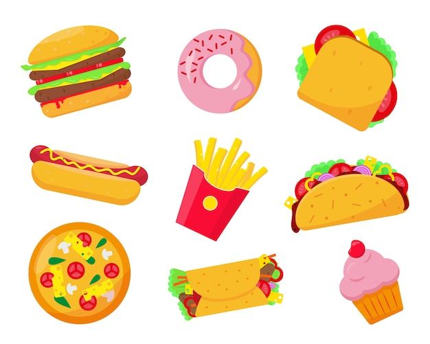 Fast-food-satzikonenillustration auf weißem hintergrund. fast- oder ungesunde lebensmittelelemente. Premium Vektoren