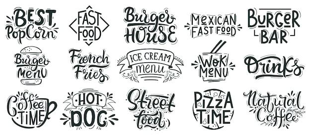 Fast-food-schriftzug. junk, street food cafe, bäckerei, restaurantabzeichen, pizza, burger und dessert handgezeichnet Premium Vektoren