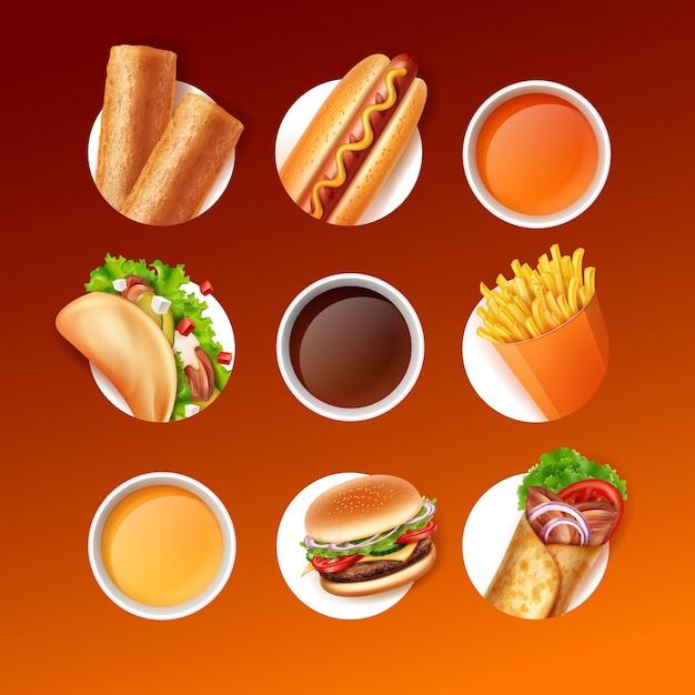 Fast-food-set aus gebratenem pastetchen, hot dog, taco, pommes frites, burger, burrito und saucen oder getränken auf farbverlaufshintergrund in braunen farben Premium Vektoren
