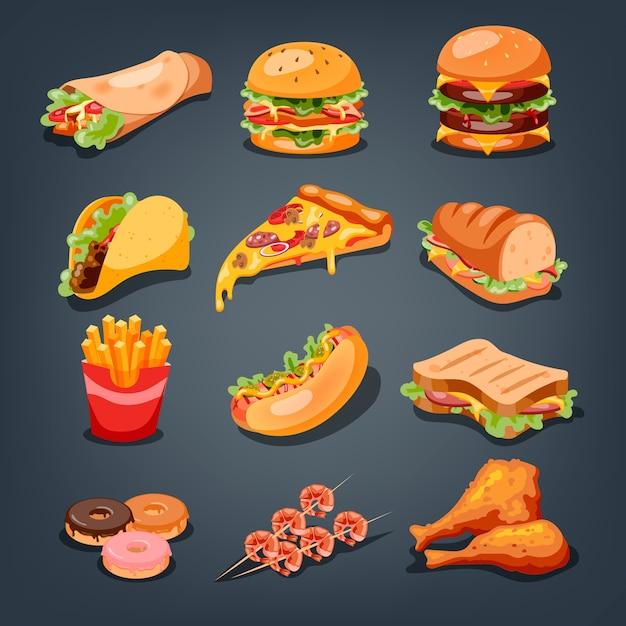 Fast-food-set. sammlung von leckeren snacks. pizza und burger Premium Vektoren