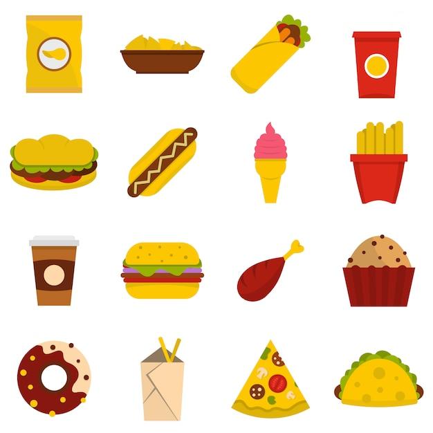 Fast-food-symbole in flachen stil festgelegt Premium Vektoren