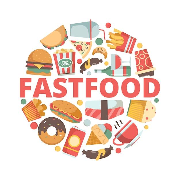 Fast-food-symbole. menübilder in kreisform kaltes getränk pizza burger sandwich eis fast food flache farbige symbole Premium Vektoren