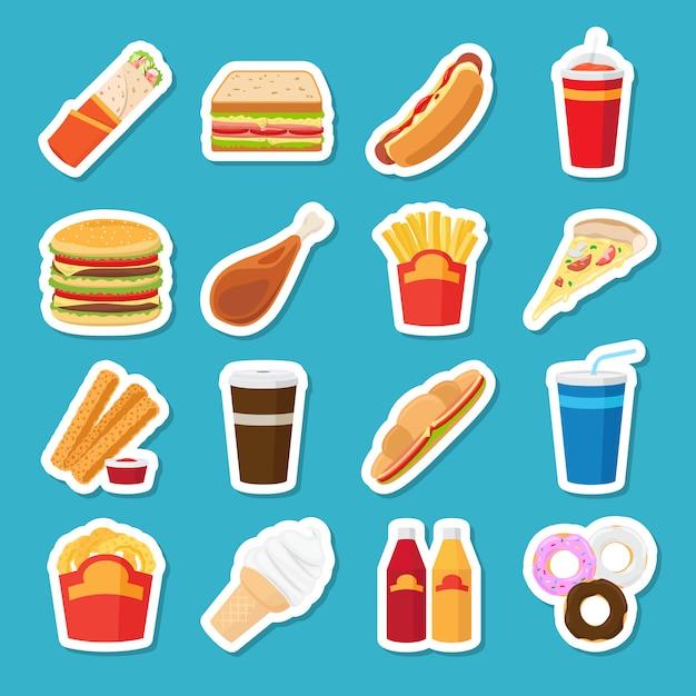 Fast-food- und getränkeaufkleber Premium Vektoren